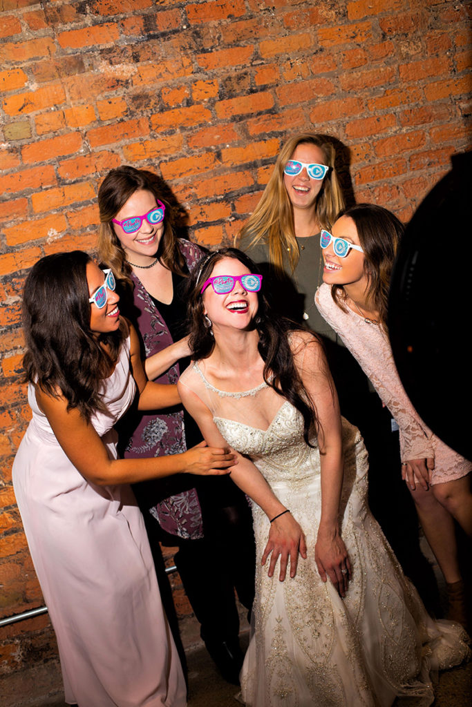 Photo Booth at Wedding again Brick Wall