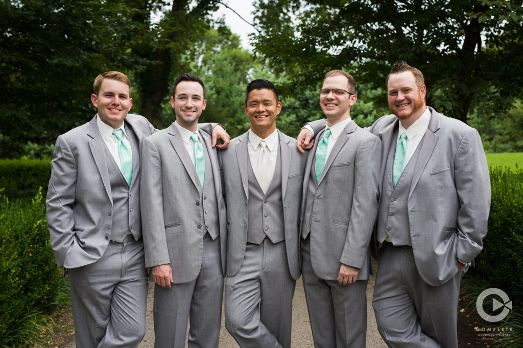 groom and groomsmen outdoor shot