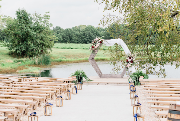 Coopers Ridge Wedding Venue & Video Wedding, Venue, beautiful, arch, florals, drapes, pond, trees