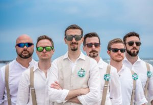 groom squad, beach wedding,