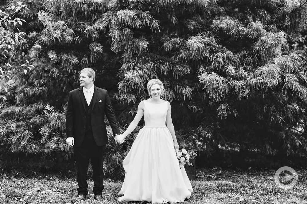 Modern Wedding at DC Centre Bride and Groom Black and White Photo