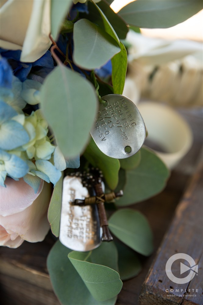 macro shot of dogtags on bouquet