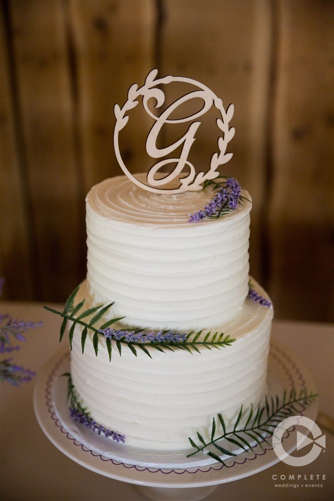 Clean Modern White Wedding Cake with Lavender