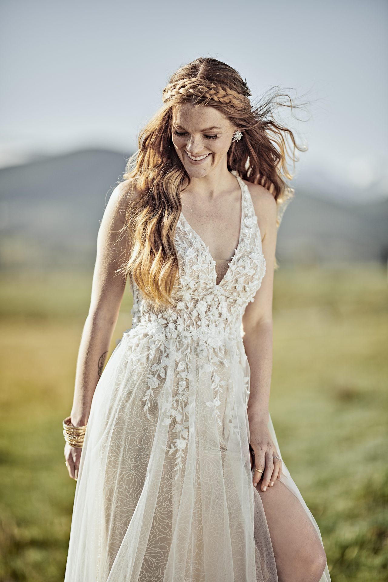 V-neck Boho Wedding Dress