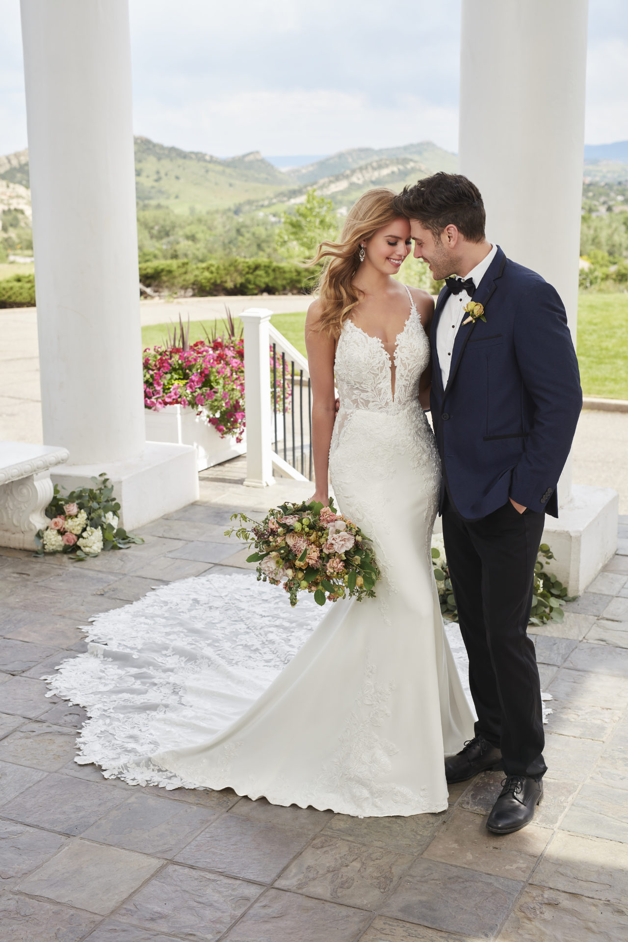 Modern Wedding Dress with Plunging Neckline