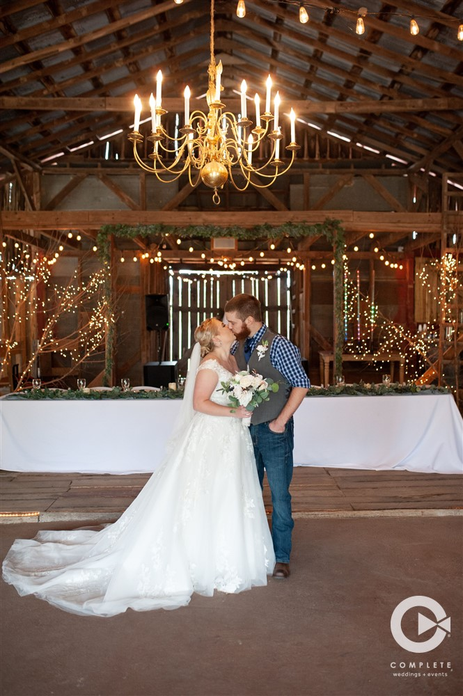 Bride & Groom in Dodson Orchard Barn