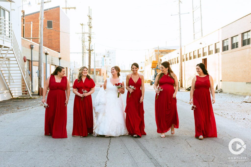 Bridesmaids in an Alley