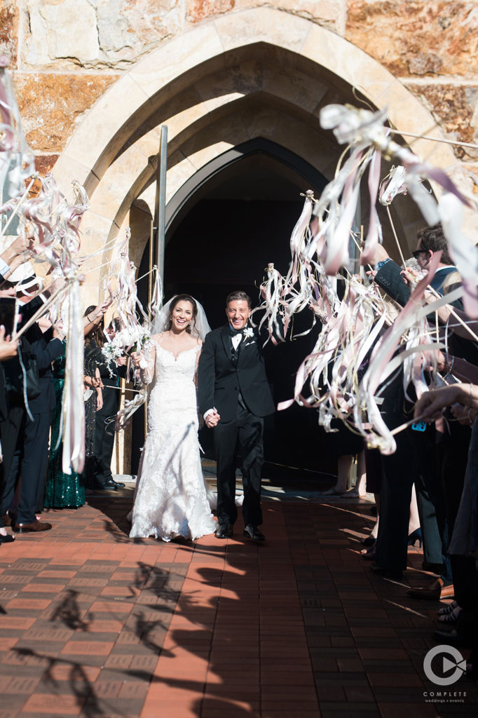 Wedding Church Exit with Ribbons